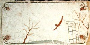 Face interne du couvercle d'une tombe découverte au sud de Pastrum (Italie) en 1968