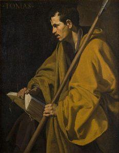 """L'apôtre Saint Thomas, Vélasquez, huile sur toile, 1618-20, Musée des Beaux-Arts, Orléans Illustration choisie par P. Michon pour la couverture poche de Vies Minuscules : """"S'il y a une chose dont je doute c'est ce qui me fonde, c'est-à-dire la littérature""""."""
